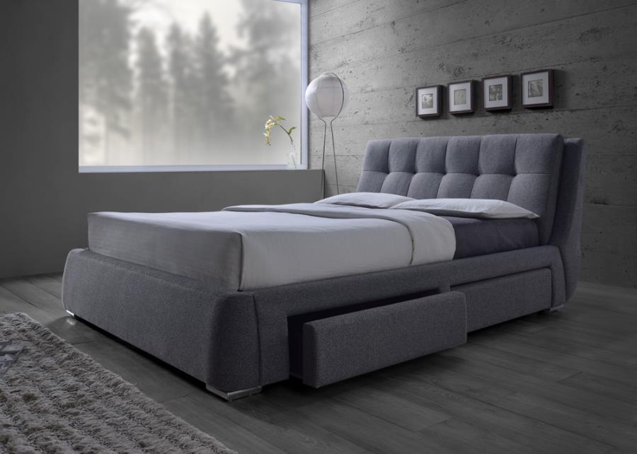 fenbrook gray queen platform storage bed